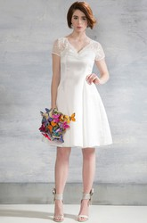 Midi V-Neck Appliqued Cap-Sleeve Satin Wedding Dress With Illusion