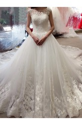 Ball Gown Bateau Lace Tulle Zipper Wedding Dress