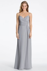 Maxi Spaghetti Ruched Sleeveless Chiffon Bridesmaid Dress With Low-V Back