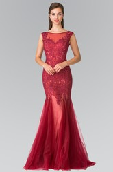 Mermaid Scoop-Neck Sleeveless Tulle Low-V Back Dress With Beading And Appliques
