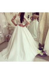 Ball Gown Jewel Satin Lace Open Back Wedding Dress
