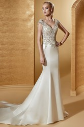 V-Neck Cap Sleeve Sheath Bridal Gown With Beaded Bodice And Open Back