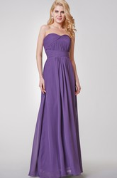 Backless A-line Long Chiffon Dress With Small Pleats