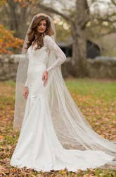 Trumpet V-Neck Long Sleeve Lace Satin Dress With Beading Appliques Button