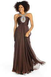A-Line Beaded Sleeveless Long Chiffon Prom Dress With Zipper Back And Pleats