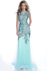 Sequined Bodice Cap Sleeve Tulle Mermaid Prom Dress With Bateau Neck