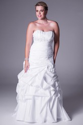 Strapless Appliqued Satin Plus Size Wedding Dress With Ruffles And Sweep Train