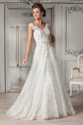 V-Neck Cap-Sleeved A-Line Gown With Appliques And Illusion Back