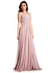 High Neck Cap Sleeve Criss-Cross Chiffon Prom Dress
