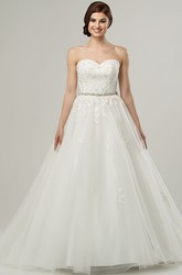 Ball Gown Sweetheart Jeweled Tulle Wedding Dress With Cape