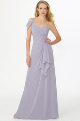 One-Shoulder Sleeveless Criss-Cross Chiffon Bridesmaid Dress With Draping