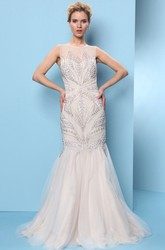 Mermaid Crystal Sleeveless Jewel-Neck Floor-Length Tulle Prom Dress With Pleats