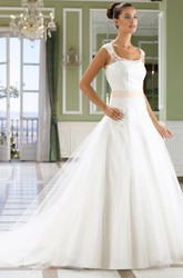 A-Line Sleeveless Floor-Length Square Tulle&Lace Wedding Dress With Court Train And Illusion Back