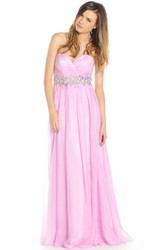 A-Line Sleeveless Sweetheart Floor-Length Ruched Prom Dress With Waist Jewellery