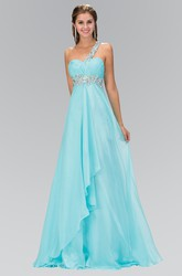 A-Line Long One-Shoulder Empire Chiffon Dress With Waist Jewellery And Draping
