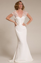Maxi V-Neck Cap-Sleeve Lace Chiffon Wedding Dress With Sweep Train And V Back
