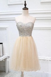 Mini Strapless Tulle Dress With Crystal Detailings