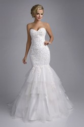 Mermaid Lace And Tulle Sweetheart Wedding Dress With Layered Skirt