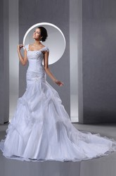 A Line Straps Organza Wedding Dress With Ruffles And Crystal Detailing