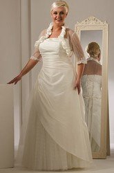 Strapless Lace Up Taffeta Bridal Gown With Tulle Skirt And Jacket