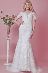 Modest Short Sleeve Lace Trumpet Wedding Dress With Illusion Back