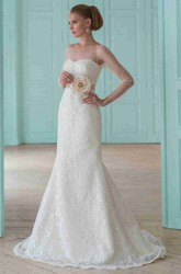 Sheath Illusion-Sleeve Floor-Length Scoop-Neck Lace Wedding Dress With Flower And Illusion