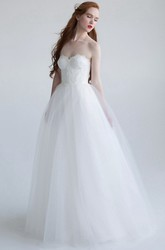 A-Line Sweetheart Tulle Wedding Dress With Lace