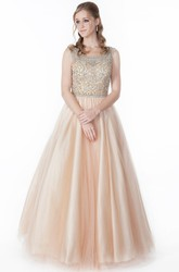 A-Line Floor-Length Scoop-Neck Beaded Sleeveless Tulle&Satin Prom Dress With Pleats