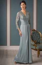 3-4 Sleeved Long Mother Of The Bride Dress With Pleats And V-Back