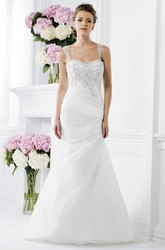 Elegant Sleeveless Mermaid Wedding Dress With Keyhole Back And Crystals