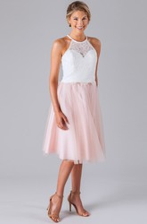 Short Lace Sleeveless Scoop Neck Tulle Bridesmaid Dress