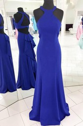 Sleeveless Floor-length Mermaid Trumpet Sheath Halter Satin Dress