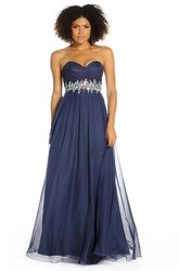Sweetheart Floor-Length Jeweled Chiffon Prom Dress With Criss Cross And V Back