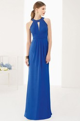 High Neck Chiffon Long Prom Dress With Keyholes And Removable Wrap Top