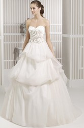 Ball Gown Long Jeweled Sweetheart Satin&Tulle Wedding Dress With Criss Cross And Pick Up