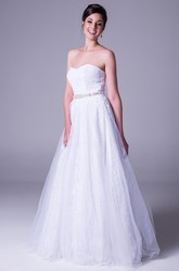 A-Line Floor-Length Sweetheart Jeweled Tulle Wedding Dress With Ruching And Bow