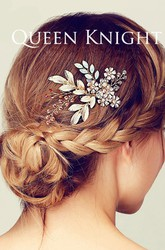 Hand-woven Champagne Color Vine Flower Branches Hair Comb