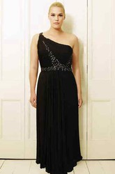 Beaded One-Shoulder Long Sleeveless Chiffon Plus Size Prom Dress With Pleats