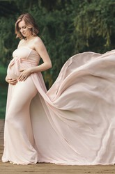 Sheath Court Train Sleeveless Empire Maternity Dress