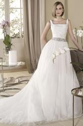 A-Line Jeweled Sleeveless Long Square-Neck Tulle Wedding Dress With Pleats