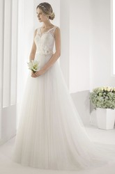 V Neck Embroidered Top Gown With Tulle Skirt And Waist Flower