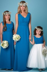 Ruched Sleeveless V-Neck Chiffon Bridesmaid Dress