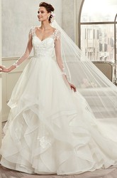 Sweetheart A-Line Ruching Bridal Gown With Long Sleeves And Open Back