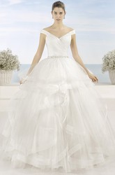 Ball Gown V-Neck Criss-Cross Tulle Wedding Dress