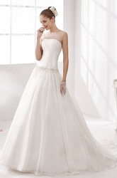 Jewel-neck Waist-drop Wedding Gown with Beaded Details and Illusive Neckline