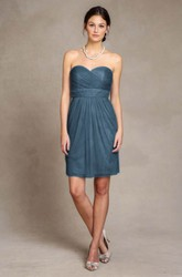 Mini Sweetheart Criss-Cross Sleeveless Tulle Bridesmaid Dress