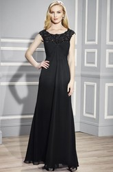 A-Line Empire Cap-Sleeve Scoop Floor-Length Appliqued Chiffon Formal Dress With Zipper Back