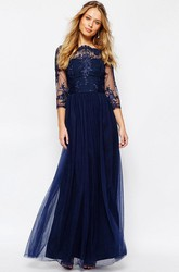 A-Line Appliqued Bateau-Neck 3-4-Sleeve Long Tulle Bridesmaid Dress With Pleats