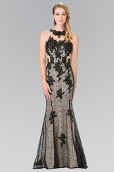 Trumpet Jewel-Neck Sleeveless Lace Illusion Dress With Appliques