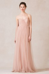 Sleeveless Criss-Cross Sweetheart Tulle Bridesmaid Dress With Straps